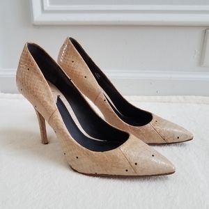 B Brian Atwood Joelle Snake Print Pointed Toe Pump